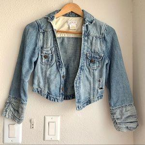LA Rok Cropped Distressed 3/4 Sleeve Denim Jacket